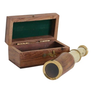 Brass & Wood Sailors Telescope With Box