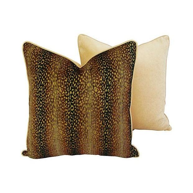 Image of Designer Big Cat Velvet & Chenille Pillows - Pair