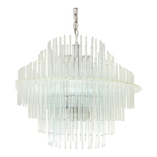 Vintage Getano Sciolari Lucite And Glass Rod Chandelier
