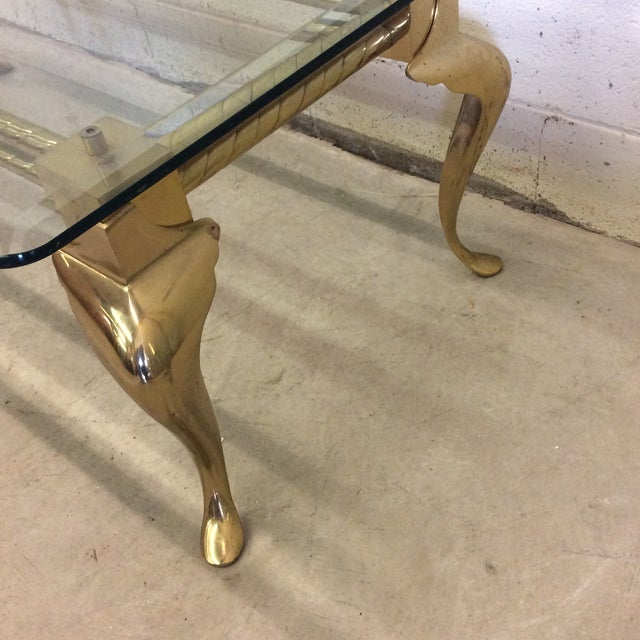 Brass & Glass Cabriolet Leg Coffee Table - Image 8 of 9