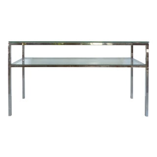 Mid-Century Modern Stainless Steel Console with Glass Top & Shelf