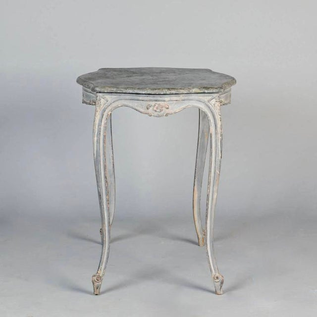 Antique French Painted and Carved Blue Side Table c.1920 - Image 4 of 10