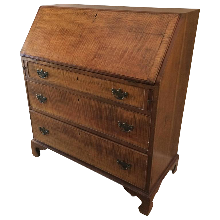 late 18th century antique tiger maple u0026 cherry slant front desk secretary