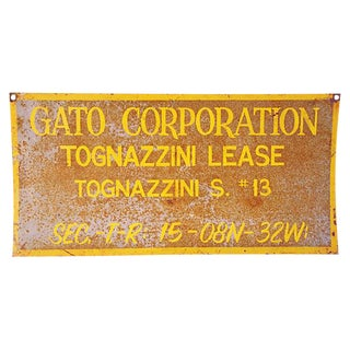 1950s Vintage Heavy Metal Gato Corporation Oil Well Sign