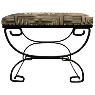 Greek Key Black Wrought Iron Bench