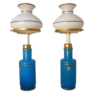 Turquoise Murano Cendelese Lamps - A Pair