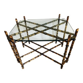 Bamboo & Cut Glass Side Table