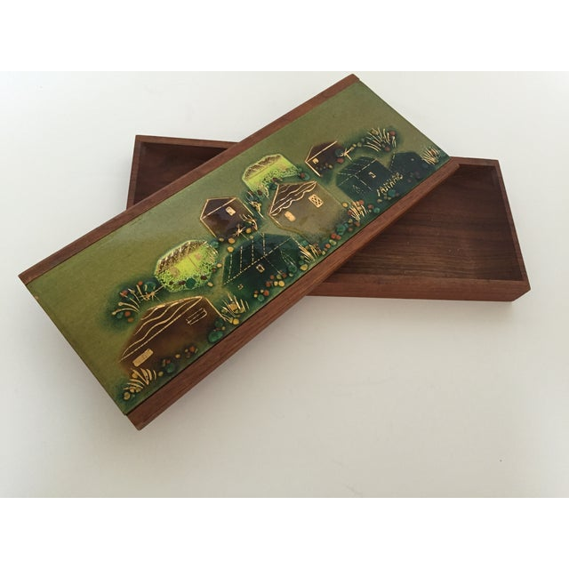 Image of Sascha Brastoff Wood Box with Enamel Cover