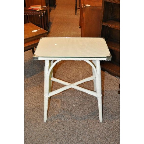 Image of Lloyd Loom Glass Top Side Table