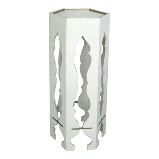 White Lacquer Brass Trim Pedestal Side Table Style of Tommi Parzinger