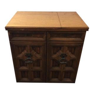 Vintage Carved Wood Sewing Table