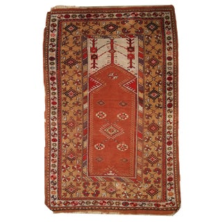 1920s Hand Made Antique Turkish Prayer Melas Rug - 4′ × 6′3″