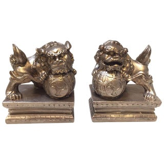 Bronze Foo Dog Bookends - A Pair