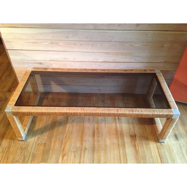Wicker and Glass Top Coffee Table - Image 8 of 8