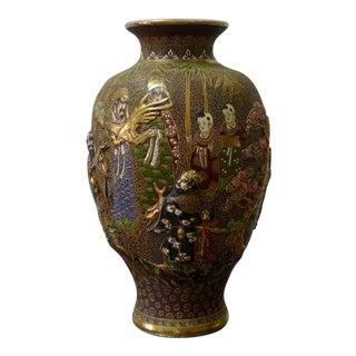 Japanese Satsuma Moriage Porcelain Vase