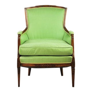 Green Upholstered Bergere Armchair