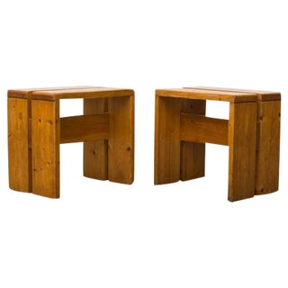 Charlotte Perriand Solid Pine Stools for Les Arcs - Pair