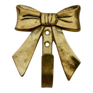 Vintage Brass Bow Wall Key Hook