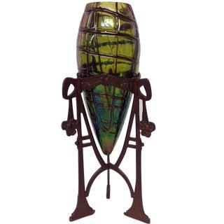 Loetz Glass Insert in a Jugendstil Metal Holder