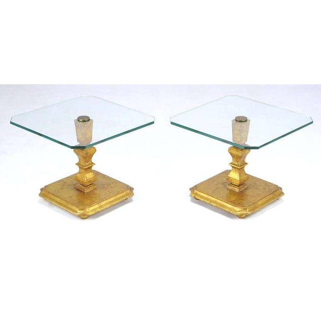 Image of Pair of Italian Gilt Wood & Canted Corner Glass Top Tables