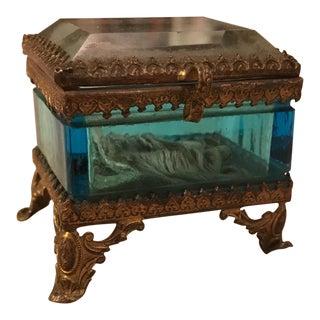 Antique Filigree Beveled Glass Jewel Casket Box
