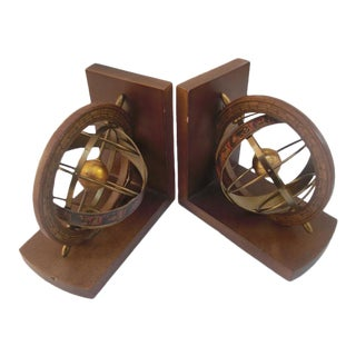 Italian Kinetic Brass Cage Sphere Bookends- A Pair