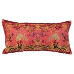 Image of Vintage Coral Silk Crane Boudoir Pillow