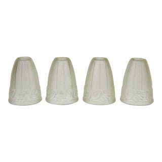 French Art Deco Frosted Glass Shades - Set of 4