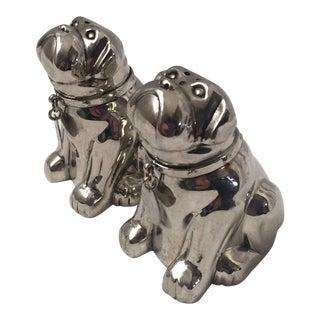 Silver Metal Bulldog Salt & Pepper Shakers - A Pair