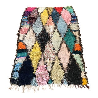"Vintage ""Karo"" Moroccan Boucherouite Rug - 5′ × 7′"