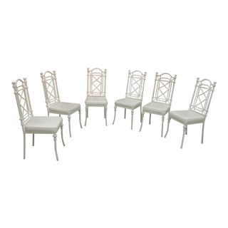 Palm Beach Regency Style Faux Bamboo Chairs - Set of 6