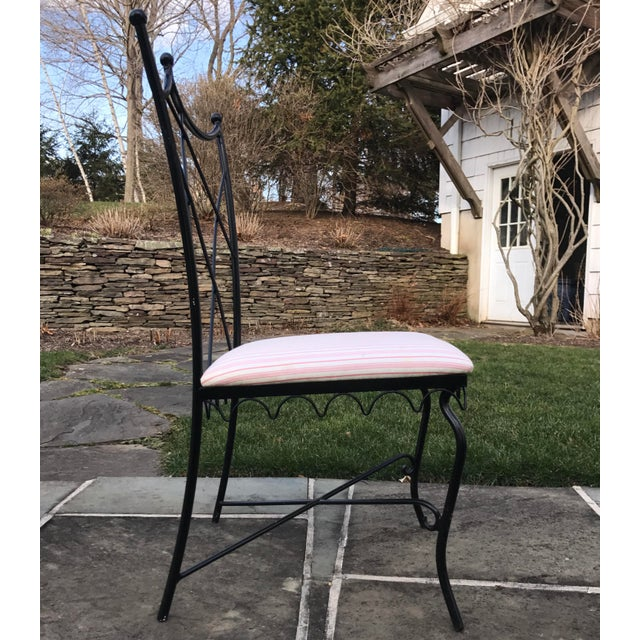 Vintage Outdoor Wrought Iron Chairs - Set of 6 - Image 3 of 5