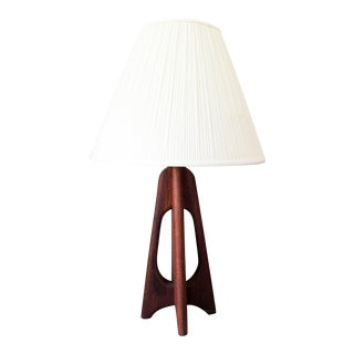 Mid-Century Danish Modern Teak Burst Table Lamp