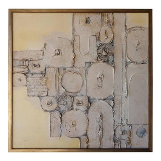 Fascinating Original Brutalist Abstract Painting on Canvas