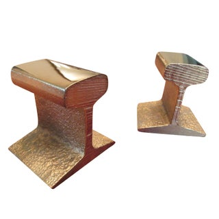 24k Gold Plated Railroad Tie Bookends
