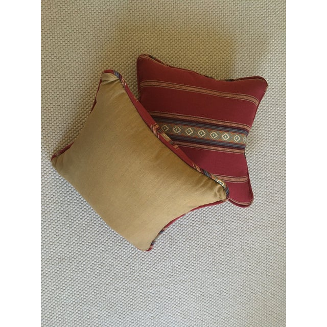 Red Southwestern Stripe Pillows - A Pair - Image 7 of 9