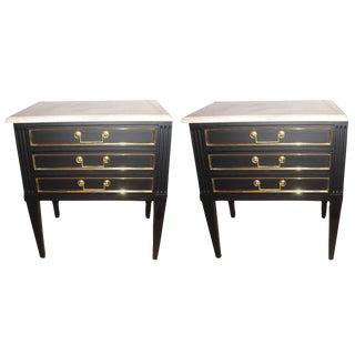 "Louis XVI Style Ebonized Marble-Top ""Gino"" End Tables - a Pair"