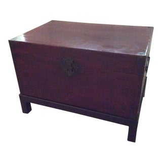 Antique Leather Chinese Trunk on Stand