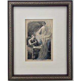 Original 1900s Watercolor and Ink Illustration