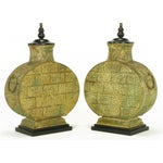 Image of Pair Monumental Bronze Chinese Urn Table Lamps