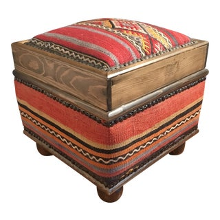 Kilim Upholstered Storage Stool