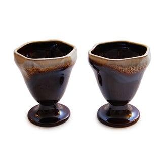 Vintage Drip Glaze Parfait Goblets - A Pair