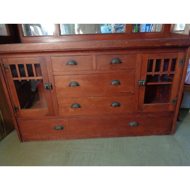 Antique Mission Hutch China Cabinet - Image 6 of 11
