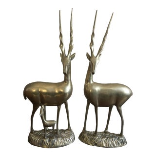 Mid-Century Brass Ibexes Figures - A Pair