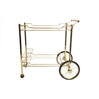 Vintage Brass and Glass Bar Cart
