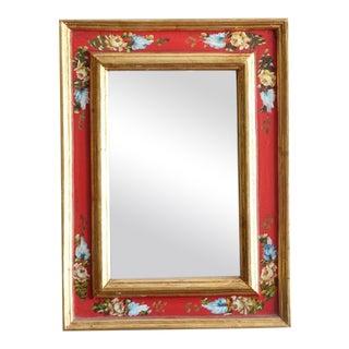 Vintage Red & Gold Leaf Mirror
