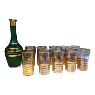Holiday Christmas Bar Set with Culver Gold Glasses