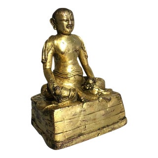 Tibetan Gilt Bronze Figure of an Arhat
