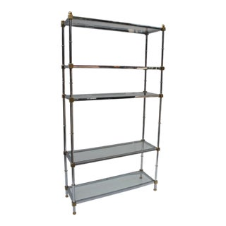 Vintage Chrome and Accent Brass Etagere
