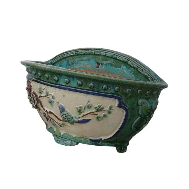 Chinese Ceramic Flower Bird Half Wall Planter - Image 3 of 7